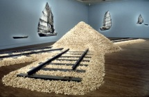 Hung Liu, Jui Jin Shan (Old Gold Mountain), 1994. 200,000 fortune cookies with support structure and train tracks. Dimensions variable.